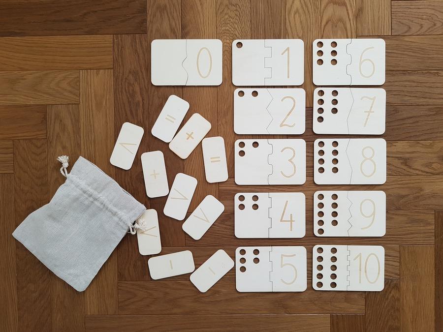 drewniane puzzle matematyczne bumke - zabawka dla 2 latka